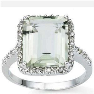 Jewelry - 5 3/5 CT GREEN AMETHYSTDIAMOND 925 STERLING RING